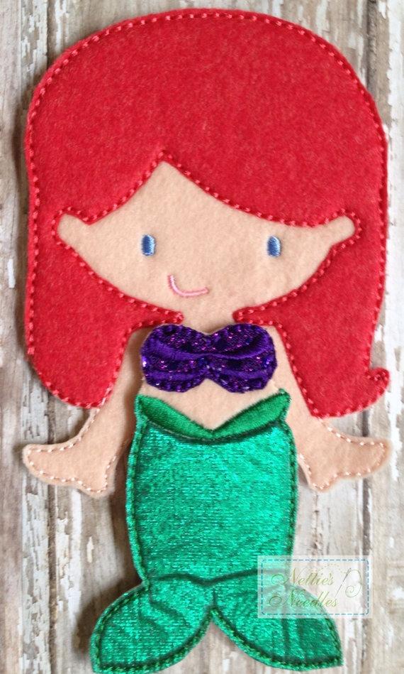 Under the Sea Mermaid Felt UnPaper doll and by NettiesNeedlesToo, $11.00