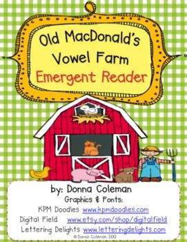 Review or introduce short vowel sounds with this simple emergent reader. It follows the pattern of the familiar Old MacDonald song. A one page summary is also included for use in poetry books. Enlarge it for Shared Reading or use in a reading center. It would make a great addition to any farm unit.  I would use to enhance literacy skills with my young emergent readers or with my struggling older reads as appropriate.