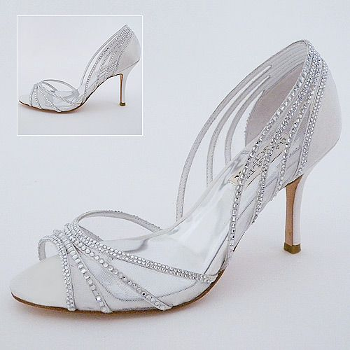"Badgley Mischka Glynn White Bridal Shoes | Crystal Wedding Shoes | 3"" Heel"