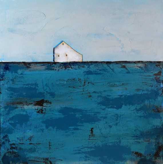 Abstract Landscape painting - Abstract Barn Painting, White Barn, Contemporary art, Farmhouse Art, Barn Art, Saltbox barn, Teal, Brown, Farm