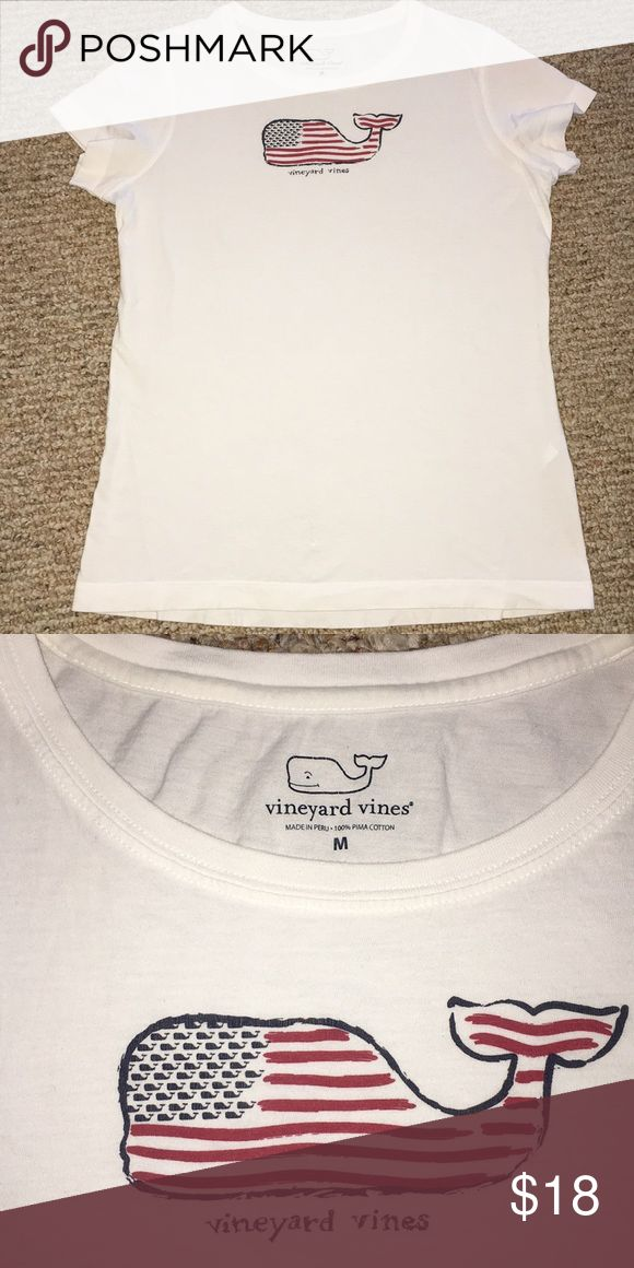 """Vineyard Vines American Flag Shirt GUC. Size medium. White with flag whale. Pit to pit 19"""". Length 24"""". Pima cotton. Vineyard Vines Tops Tees - Short Sleeve"""