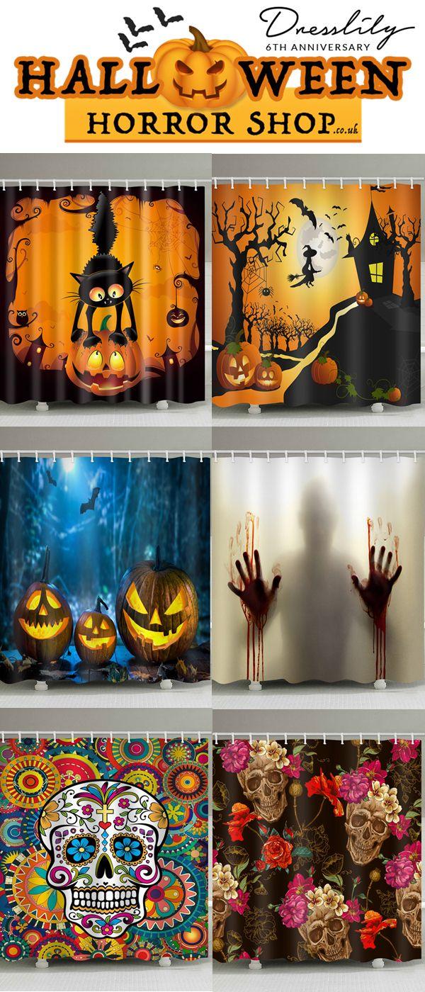 1e68aceb090 Buy 2 get 15% off. Halloween Night Castle Print Waterproof Shower Curtain.   dresslily  halloween  showercurtain