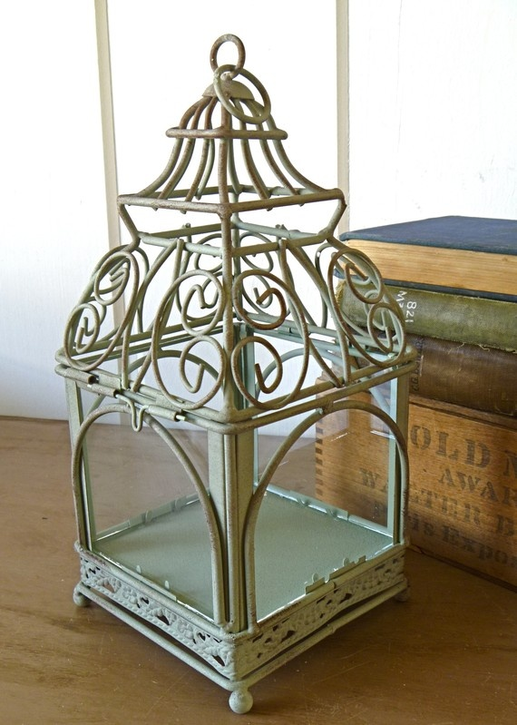 modern french country wedding | French Country Small Green Bird Cage, Jewelry Display- Great for shop ...