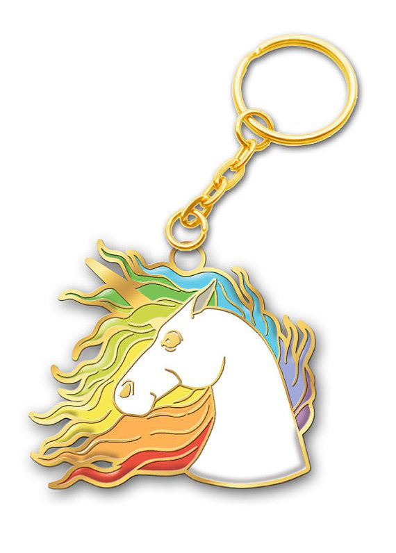 Unicorns are beautiful! Make your keys magical.  Frida is approximately 1.75 x 1.5 plus the gold metal keychain.  Comes packaged in a plastic sleeve. Great gift