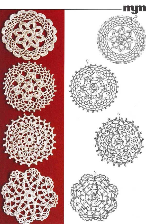 Crochet SNOWFLAKE <かぎ針編み無料編み図> 雪の結晶モチーフを集めました。 これからの季節にぴったりの可愛いモチーフです。 色んな形を編んで、お部屋のインテリアに♪ 雪の結晶は時間がかからないので、ちょっとした空き時間に 一つずつ編んでいくときっといつの間にか沢山出来ていますよ^^ 私もちょくちょく編み始めています♪ ************************************************* とっても簡単!2段で出来るミニスノーフレークの無料編み図は こちらの記事からどうぞ♪ (2014年に公開したものです。) ************************************************* *** 画像クリックで大きくなります *** *** 画像クリックで大きくなります *** *** 編んだ雪の結晶を使ったアイデア集 *** 糸は白じ...