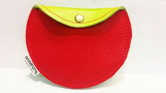 Leather coin purse red coin purse fluor leather purse by BellyPork