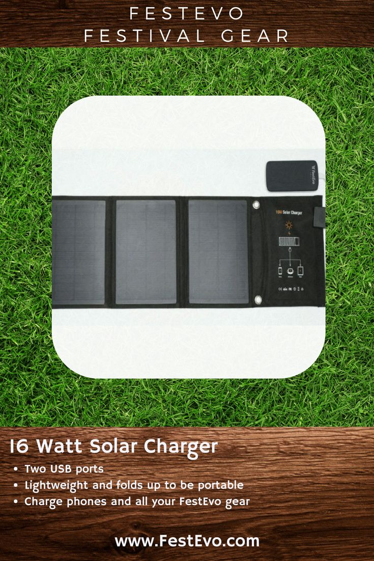 FestEvo Festival Gear - 16 Watt Solar Panel - Always have your gear, lights and phones charged and #FestivalBetter