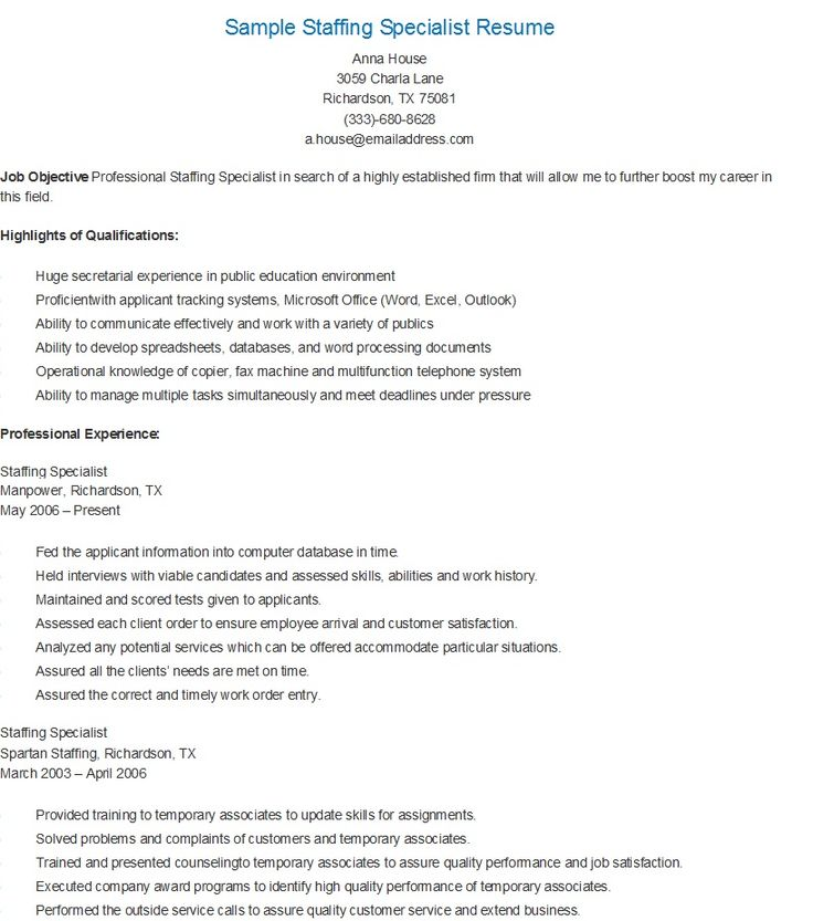 Awesome Staffing Specialist Resume Resume Ideas Pertaining To Staffing Specialist Resume