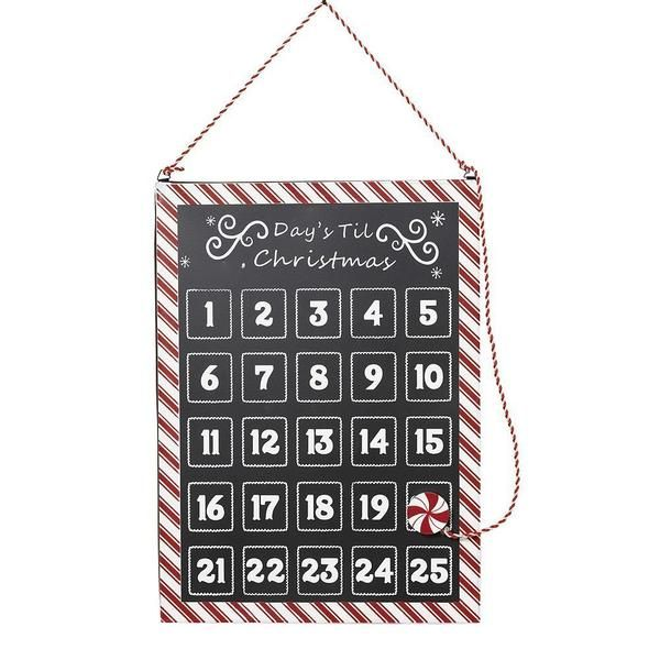 """17 Inch """"Days Til Christmas"""" Hanging Christmas Countdown Calendar with Peppermint Magnet"""