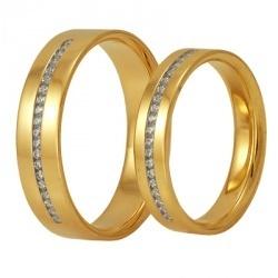 Обручальные кольца из желтого золота с бриллиантами, артикул WR02-1M1, WR02-1F1 - купить по лучшей цене, описание, характеристики, фотографии