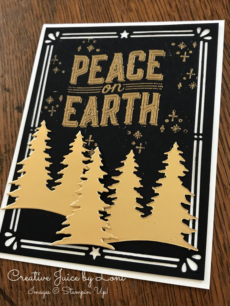 Carols of Christmas, Stampin' Up!, Peace on Earth, Christmas Card, black & gold, www.creativejuicebyloni.com