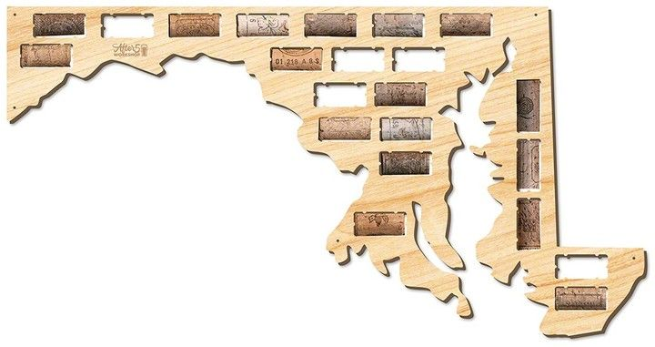 AFTER 5 Maryland Wine Cork Map