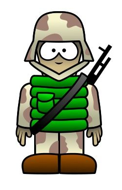 Courageous cartoon soldier.