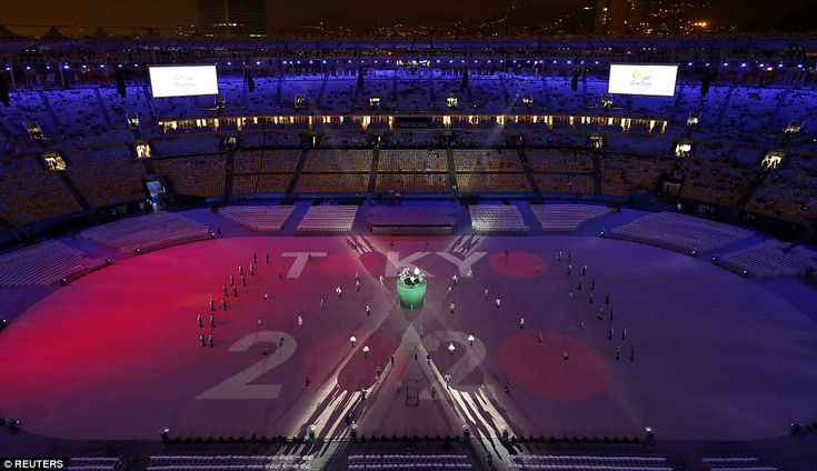 Next Olympics: A projection relating to the Tokyo 2020 Olympics is seen during the closing ceremony on Sunday