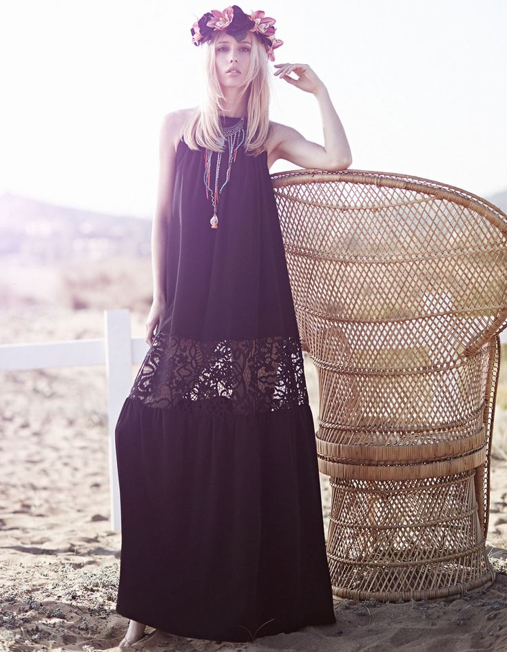 bohemian style long black dress with lace