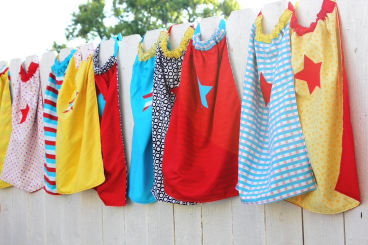 Cute Super Hero capes for preschool kids. Love the back-story on this as well.