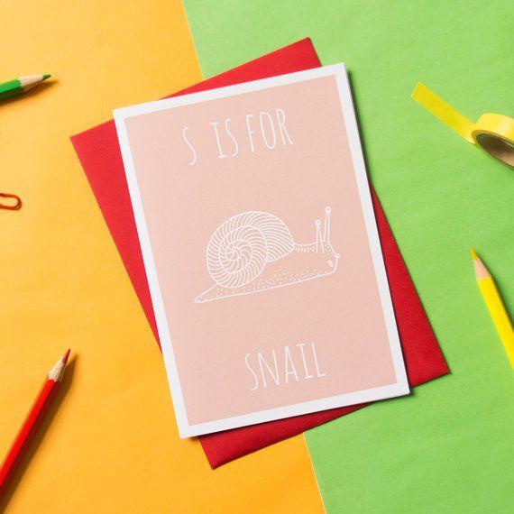 Snail Card. Animal Alphabet Card. 100% by DarwinDesignsCards