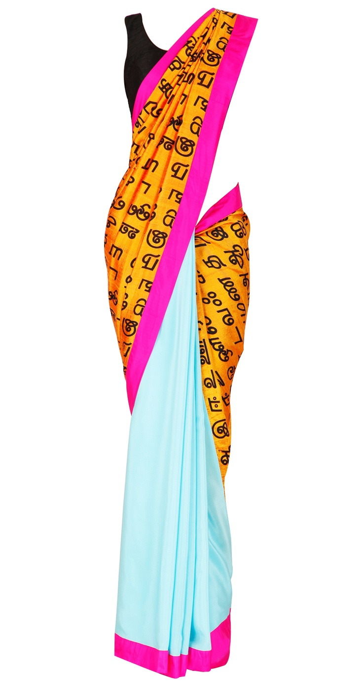 Tamil print crepe and silk sari by Masaba. Shop at https://www.perniaspopupshop.com/whats-new/masaba-3338