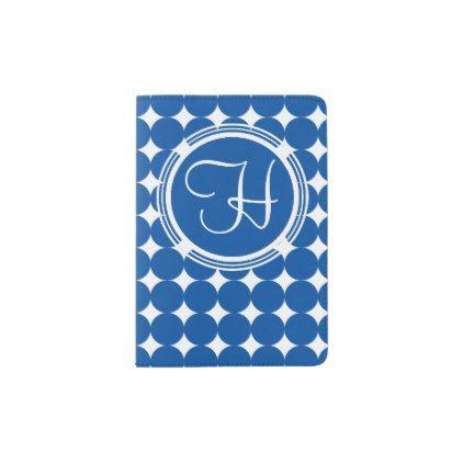 Blue Polka Dot Monogram Passport Holder - patterns pattern special unique design gift idea diy