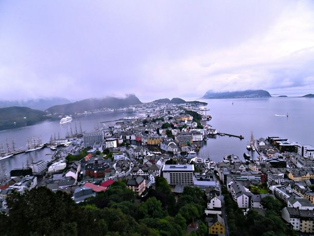 Alesund, Norway — by AmyluvJ. Overlooking view of the city. #Ålesund#city#norway