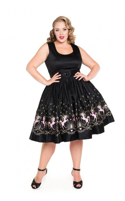 Pinup Couture- Aurora Dress in Dancing Horses Print - Plus Size | Pinup Girl Clothing