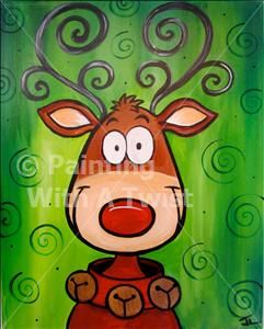 Crazy Reindeer - Tallahassee Painting Class - Painting with a Twist - Painting with a Twist
