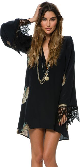 Stone Cold Fox black dress with lace trim at sleeves. http://www.swell.com/Womens-Dresses/STONE-COLD-FOX-BOARDWALK-BELL-SLEEVED-DRESS?cs=MU