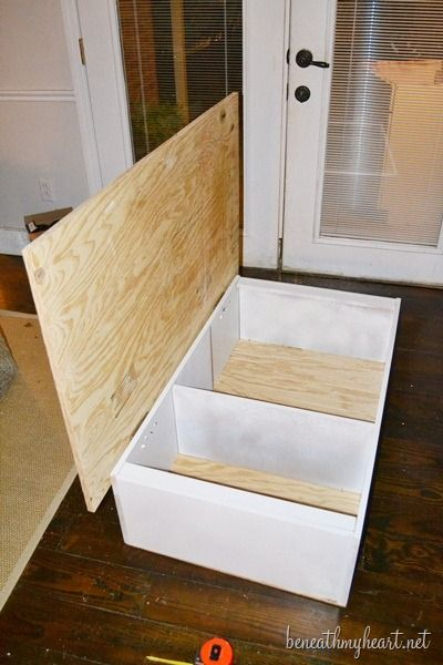bookcase turned coffee table storage