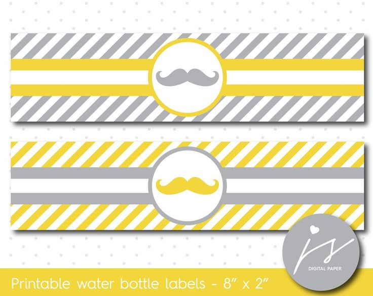 Yellow and grey mustache water bottle labels with stripes, WA-114