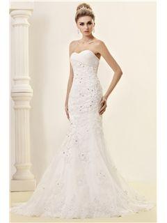 Cheap Trumpet/Mermaid Strapless Sweetheart Lace Wedding Dress Wedding Dresses 2014- ericdress.com 9691005