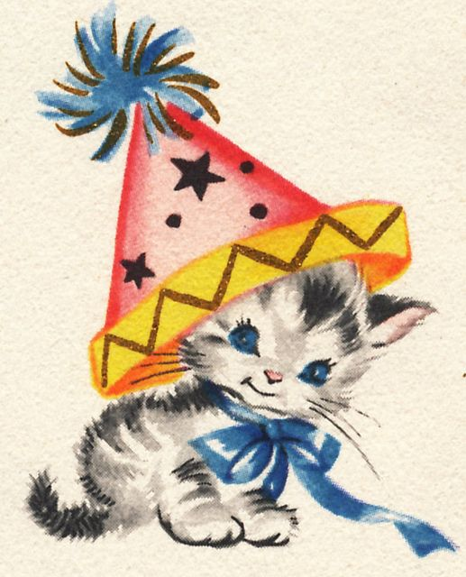 Vintage illustration kitten with party hat by B-Kay, via Flickr