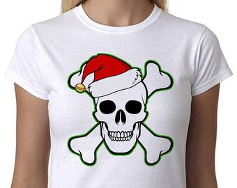 Christmas T Shirt Skull & Crossbone Santa Hat Father Xmas Funny Gift Present Women's CHRISTMAS GIFT