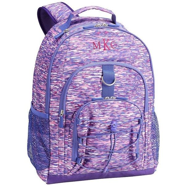 PB Teen Gear-Up Pink/Purple Static Backpack ($37) ❤ liked on Polyvore featuring bags, backpacks, laptop rucksack, print backpacks, draw string backpack, padded backpack and pink polka dot backpack
