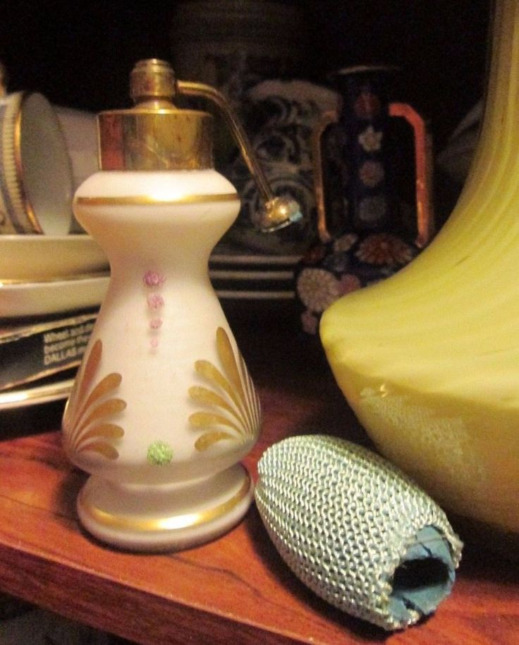Antique VICTORIAN SATIN GLASS PERFUME ATOMIZER CORALENE & GOLD OLD COLLECTIBLE! #Unbranded