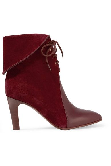 Chloé - Leather-paneled Suede Ankle Boots - Burgundy - IT