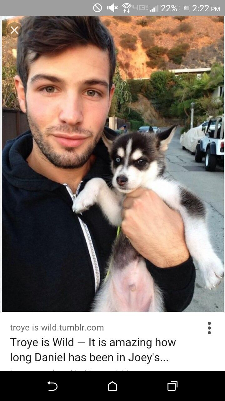 Daniel the boyfriend of joey graceffa with wolf as a baby (picture found on google)