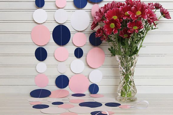 Navy Blue, Pink & White Garland 3m or 6m