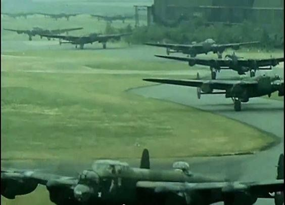 Lancasters taxing to the runway for a bombing raid in 1944