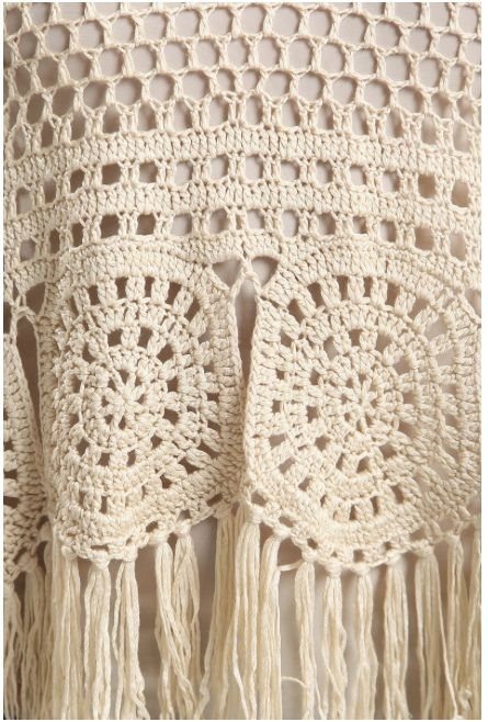 Crochet Fringe Sweater with Tie Back - Natural
