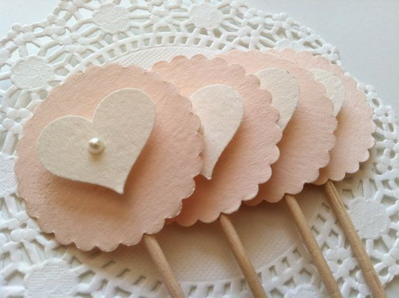 20 Heart Cupcake Toppers in Blush and Ivory with Pearl.  Extra Long Elegant Topper for Wedding, Bridal or Baby Shower, Birthday Parties