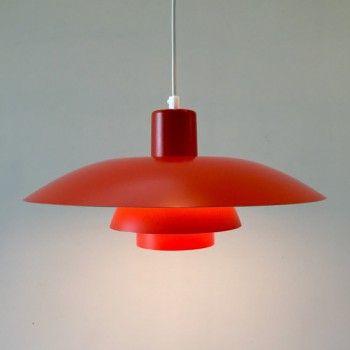 #1970s #PH #ceilingLight #orange #PoulHenningsen #LouisPoulsen  http://retro-design.dk/butik/pendel-ph-4-orange-1970erne/