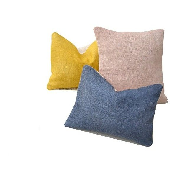 Blue hemp pillow. Blue cushion cover. Natural jute cushion 12 x 16... ($36) ❤ liked on Polyvore featuring home, home decor, throw pillows, handcrafted home decor, blue accent pillows, jute throw pillows, handmade home decor and blue toss pillows