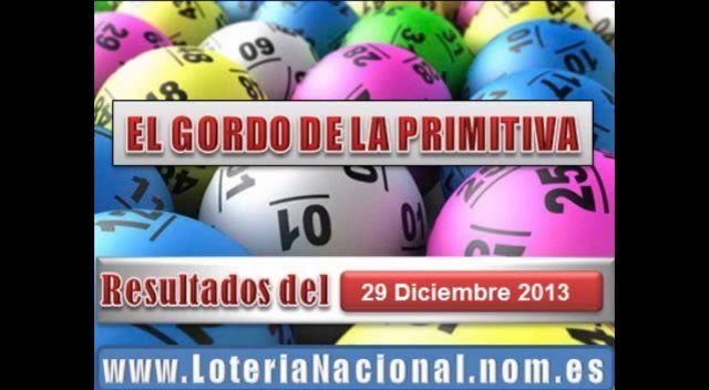 El Gordo de la Primitiva sorteo Domingo 29 Diciembre de 2013. Fuente: www.loterianacional.nom.es