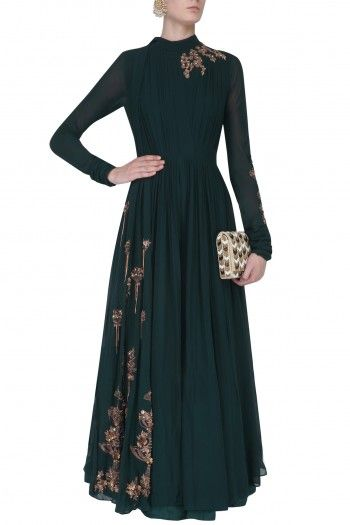 Teal Embroidered Drape Jumpsuit By Ridhi Mehra