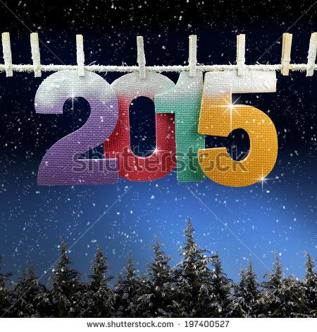 Number 2015 hanging on a clothesline over snow covered trees at night