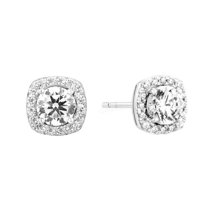 A stunning pair of Sterling Silver stud earrings finished with AAA Grade Cubic Zirconias and Rhodium plating.