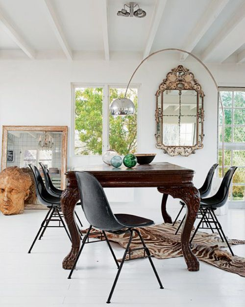 Eclectic Dining Room With Eames Chairs Vintage Arco Lamp By Flos Antique Table Flea Market Mirror In The Home Of Designer Marie Olsson