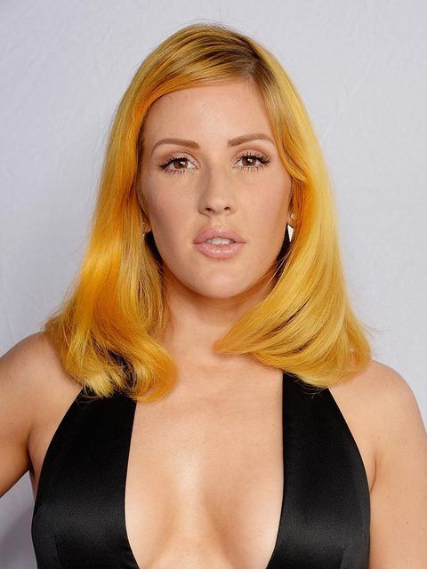 Ellie Goulding debuted new yellow locksat the MTV EMA's in Italy, October 2015.