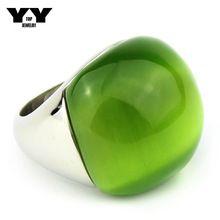 Vente chaude femme big Opal bijoux Anneau Haute qualité 316L Inoxydable acier avec Olive vert cat eye pierre anneau en argent couleur G0611(China (Mainland))