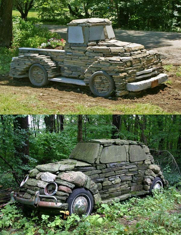 4. Give your home's outdoor an amazing look by adding a piece of stone art like this.